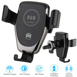 Wireless Car Charger Phone Mount Holder Black