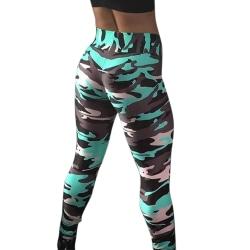 Women High Waist Leggings Camo Fitness Sports Train Pants Green XL