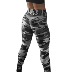 Kvinnors hög midja leggings fitness sport träning gym yoga byxor grey 2XL