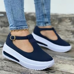 Women Sandals Thick Bottom Casual Flats Soft Summer Shoes Loafer Blue 39