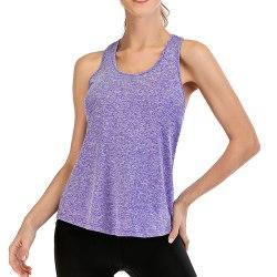 Kvinnor Ärmlös Väst Yoga Sport Gym Tank Top Casual Tunika Skjorta Purple 2XL