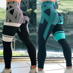 Women Vital Striped Seamless Leggings Sport Geometry white M