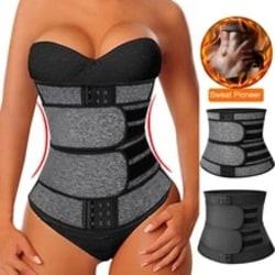 Women Waist Trainer Body Shapewear Zip Double Belt Sports Corset black M