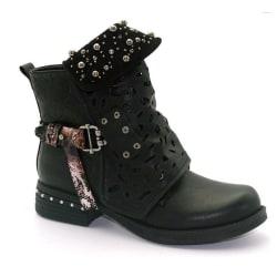 Womens Block Heel Studded Ankle Boots Chunky Biker Booties Skor black 41