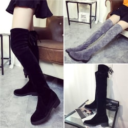 Womens Ladies Over the Knee High Flat black 39