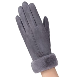 Womens Ladies Warm Thermal Riding Finger Touch Screen Gloves Grey