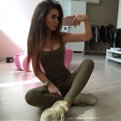 Womens Sleeveless Romper Jumpsuit Bodysuit Slim Fit Sports Pants green S
