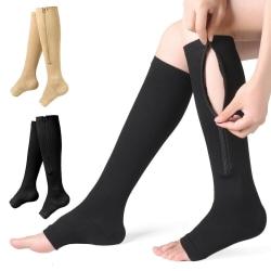 Zip-Up Compression Socks Leg Support Knee High Stocking Sports Black S/M