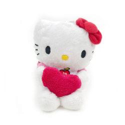 Hello Kitty Mjukis med ljud 12 cm - Heart Vit