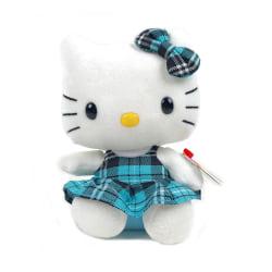 Hello Kitty TY Mjukis Gosedjur Blå Kilt 15 cm Vit