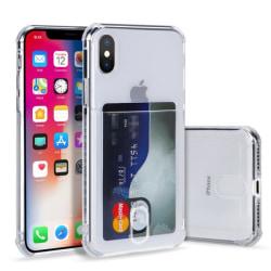 iPhone X/XS skal transparent med korthållare