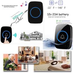 300m waterproof led wireless doorbell Black EU