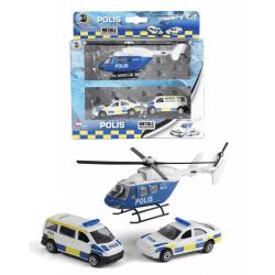 VN Leksaker Polis 3-Pack -Polisbilar + Helikopter 40735