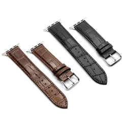Apple Watch läderband med krokodilmönster 38/40mm - flera färger Svart