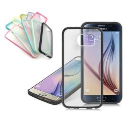 Frostat Transparent skal med färgad ram Samsung S6 - fler färger Ljusrosa