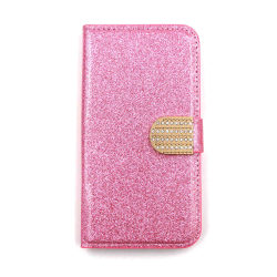 Glitter design Plånboksfodral till iPhone 5/5S/SE - fler färger Rosa