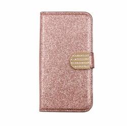 Glitter design Plånboksfodral till iPhone 5/5S/SE - fler färger Rosa guld