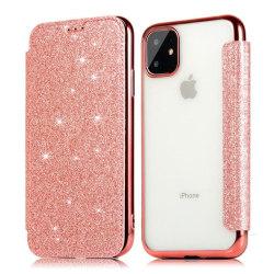 iPhone 11 Plånboksfodral TPU Ultraslim Glitter - fler färger Rosa
