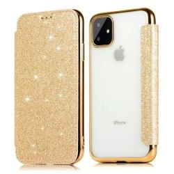 iPhone 11 Pro Max Plånboksfodral TPU Ultraslim Glitter - fler fä Guld