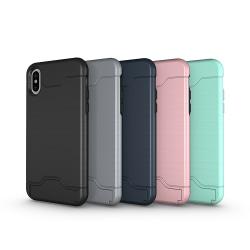 iPhone X/XS | Armor skal | Korthållare - fler färger Svart