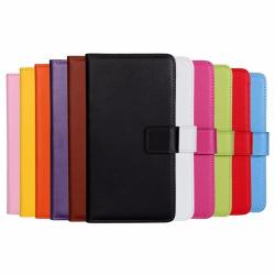 Plånboksfodral Äkta Skinn iPhone 12 Mini - fler färger Svart