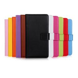 Plånboksfodral Äkta Skinn iPhone XR - fler färger Svart