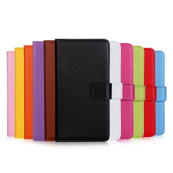Plånboksfodral Äkta Skinn Moto G7 Plus - fler färger Svart