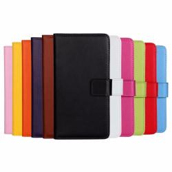 Plånboksfodral Äkta Skinn Samsung A8 2018 - fler färger Svart