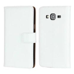 Plånboksfodral Äkta Skinn Samsung J3 2016 - fler färger Vit