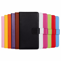 Plånboksfodral Äkta Skinn Sony Xperia XZ2 Compact - fler färger Svart