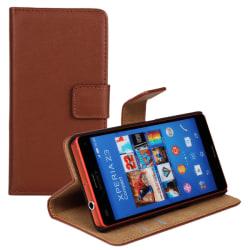 Plånboksfodral Äkta Skinn Sony Z3 Compact - fler färger Brun