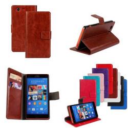 Plånboksfodral i PU-Läder till Sony Z3 Compact - fler färger Lila