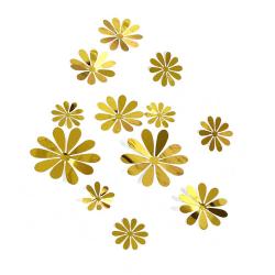 12-pack 3D Väggdekoration Blommor Guld Väggdekal Väggdekor guld