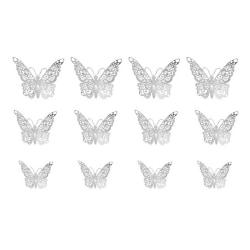 12-pack Fjärilar 3D Väggdekal Väggdekor Väggdekoration Silver silver