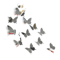 12-pack Silver Spegelblanka Fjärilar 3D Väggdekal Väggdekor silver