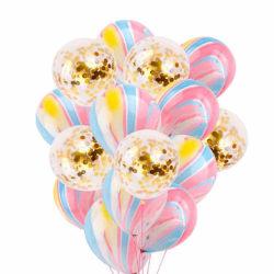 15-pack Ballonger Regnbåge Guld Konfettiballonger 31cm Godis flerfärgad