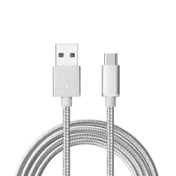 1m USB-C Quick Charge 3.0 Laddkabel Android vit