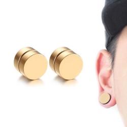 2-pack Guld Magnetisk Fake Piercing Öron Töjning Plug guld
