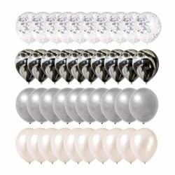 40-pack Ballonger Vit Svart Silver Konfettiballonger Födelsedag silver