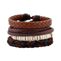 5-pack Handgjorda Läderarmband Herrarmband Skinn Läder Rep brun