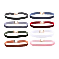 8-pack Trendiga Choker Halsband Sammet Tyg Velvet flerfärgad