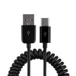 Android Laddkabel USB C Töjbar Spiralkabel (Svart) svart