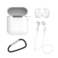Apple AirPods 1/2 4-i-1 Fodral Halsrem Earhooks Vit vit