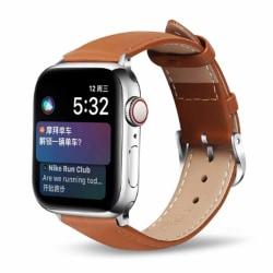 Apple Watch 38/40 1/2/3/4/5 Ljusbrunt Läderarmband Skinn Läder brun