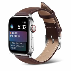 Apple Watch 42/44 1/2/3/4/5 Mörkbrunt Läderarmband Skinn Läder brun