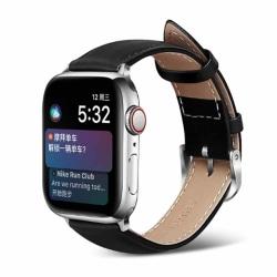 Apple Watch 42/44 1/2/3/4/5 Svart Läderarmband Skinn Läder svart