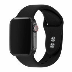 Apple Watch 42/44 1/2/3/4/5/6/SE Svart Silikonarmband Silikon svart