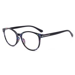 Blommiga Svarta Ovala Läsglasögon Styrka 2.0 Glasögon svart