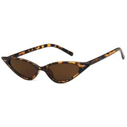 Brun Leopard Smala Solglasögon Brunt Glas med Senilsnöre brun