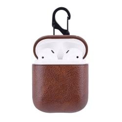 Brunt Apple AirPods 1/2 Väska Fodral Skyddsfodral i Skinn Läder brun